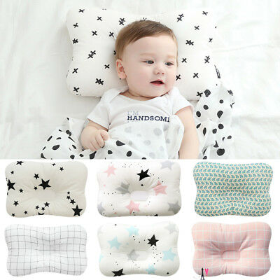 Newborn Baby Infant Cotton Pillow Positioner Prevent Flat Head Anti Roll UK