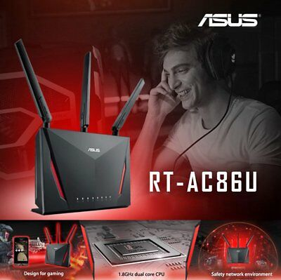 Brand New Asus RT-AC86U AC2900 Dual Band Wireless Router MU-MIMO 1.8Ghz CPU OB