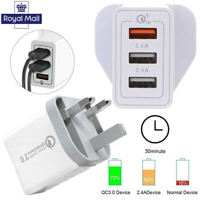 3Port 30W Fast Qualcomm Quick Charge QC 3.0 USB Hub Wall Charger Adapter UK Plug
