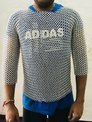 Female 10 mm 9 mm 16 gauge Aluminium Butted Chainmail Shirt With White Anodizing