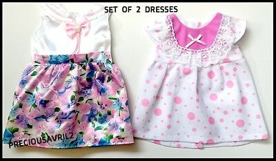 Baby born doll clothes fits 43 cm American Girl summer dresses set of two