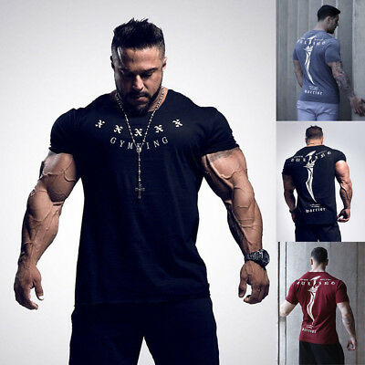 CA Men Slim Fit Short Sleeve O Neck Gym Muscle Casual T-shirt Tops Blouse Summer