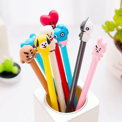 1/2pcs Kpop BTS Cartoon Ballpoint Pen Jungkook Suga Cute Black Ink Gel Pen 0.5MM