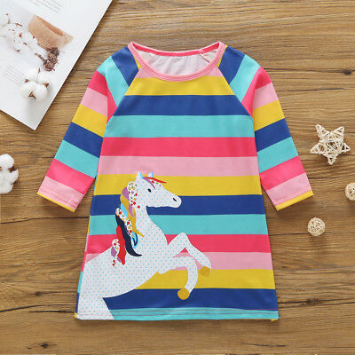 Kids Baby Girls Cartoon Unicorn Summer Striped Party Pageant Tutu Dress Clothes
