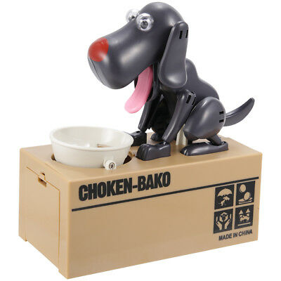 Hungry Dog Stealing Piggy Bank Money Coin Electronic Collecting Saving Box Black