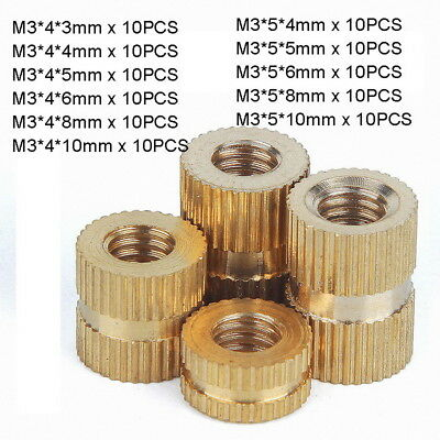 110pc M3 x (3-10mm) Solid Brass Injection Molding Knurled Thread Inserts Nut Kit