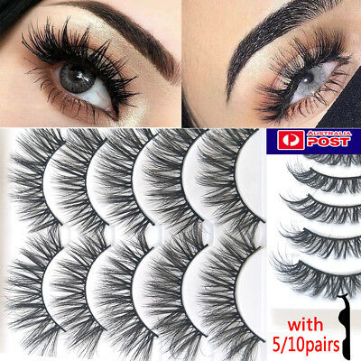 AU 10 Pairs Natural Cross Fake Eyelashes Layered Lashes Mink False Eyelashes 3D