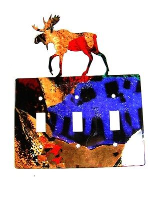 Moose Triple Light Switch Plate by Steel Images Made In USA 6215qq