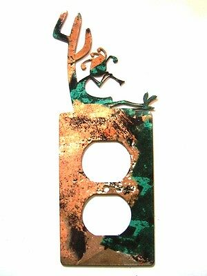 Kokopelli w/ Flute Cactus Double Outlet Cover Plate by Steel Images USA 021915K