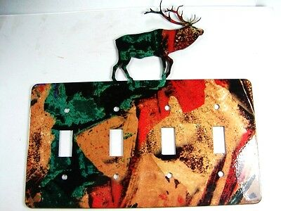 Reindeer Quadruple Light Switch Cover Plate by Steel Images USA 6215ee
