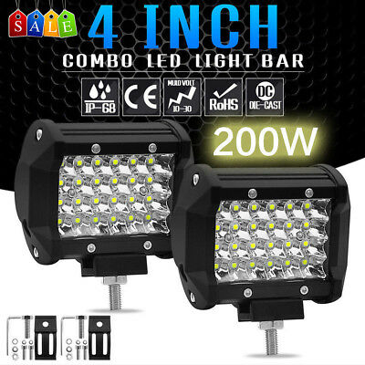 "4"" LED Light Bars Flood Spotlight Combo Off-road Driving Fog Lamp Truck Boat ATV"