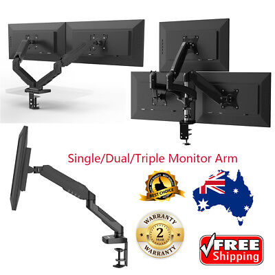 Single/Dual/Triple Monitor Desk Mount Standing Gas Spring Swivel Arm Adjustment