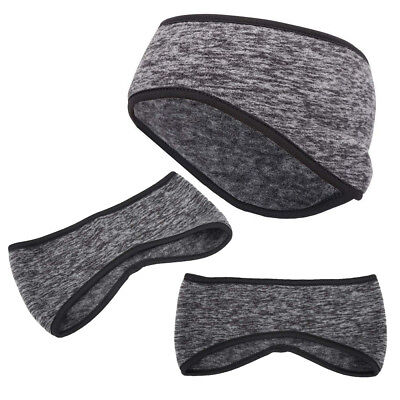 Winter Ear Cover Warmers Men Womens Thermal Fleece Ski Cycling Head Band Gray