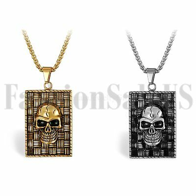 Punk Biker Stainless Steel Men's Polished Skull Dog Tag Pendant Necklace w Chain