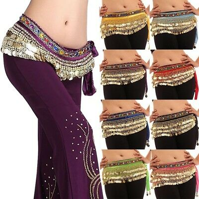 Belly Dance Velvet & Coins Belt Dancer Hip Skirt Scarf Wrap Festival Fancy Skirt
