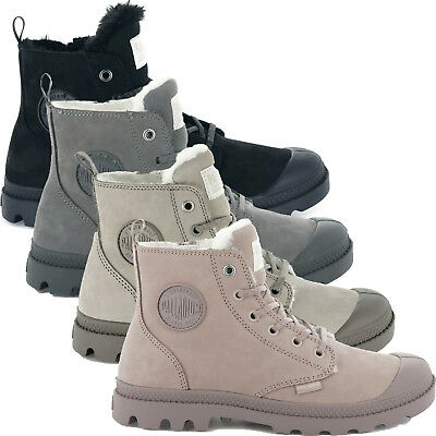 Palladium Womens Pampa Leather Lace Up Boots Faux Fur Lined Chukka Ankle Shoes