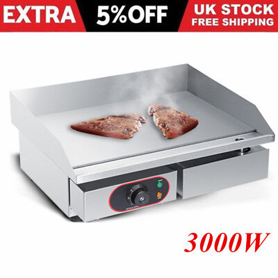 Home Commercial Electric Griddle Countertop Steel Large BBQ Grill Flat Hotplate