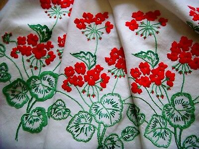 Vintage Hand Embroidered Linen Tablecloth~Beautiful Red Geraniums Christmas