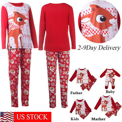 2018 Family Matching Christmas Pajamas Set Adult Women Kids Sleepwear Nightwear