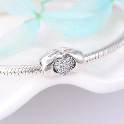 Love Heart In Hands Charm Bead Genuine Sterling Silver 925 Wife Mum Daughter NEW