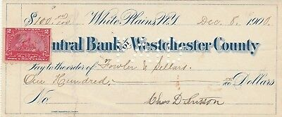 CENTRAL BANK of WESTCHESTER COUNTY,WHITE PLAINS NEW YORK  1900      W/REVENUE