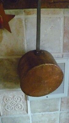Antique Copper Saucepan Wrought Iron Handle Dovetail Joinery