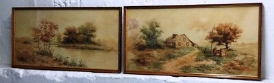 "Pair of Late 19th early 20th c.Watercolor Landscape Paintings signed ""H. Amie"""