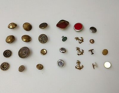Lot of 26 Antique & Vintage Metal  Buttons Anchor, Insignia, Some Matching