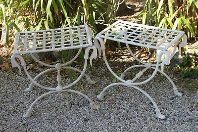 Pair of stools curule. Furniture Garden. Wrought iron