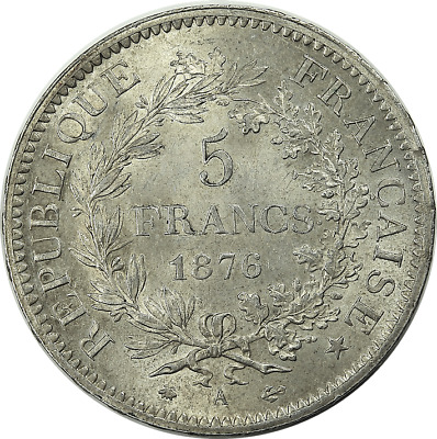 France 1876 A Silver 5 Francs Hercule - high grade, mint luster