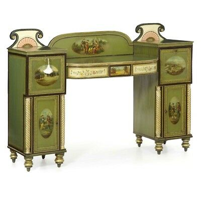 George IV Painted Antique Pedestal Sideboard Console, England c. 1825, ex museum