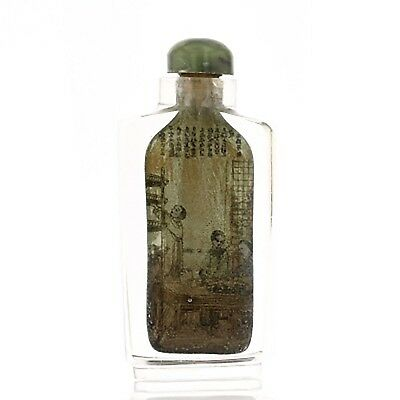 Antique Chinese Glass Snuff Bottle. Interior Painted. Cap With Spoon. 882182