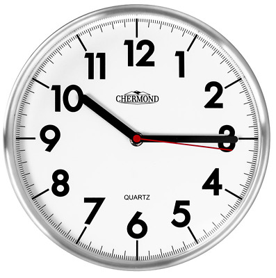"""CHERMOND -metal wall clock with white dial, 25 cm / 10"""" , clean design"""
