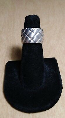 MICHAEL DAWKINS Sterling Silver Thick Quilt Design Ring Size 5 *1168*
