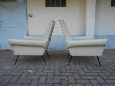232) Couple Armchairs Feet In Metal Design Modern Antiques Style Zanuso 50 Years