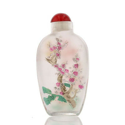 Antique Chinese Glass Snuff Bottle. Interior Painted. Cherry Blossoms. 882182