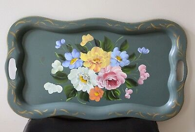 vintage hand-painted green tole tray 24 x 14 floral serving tray
