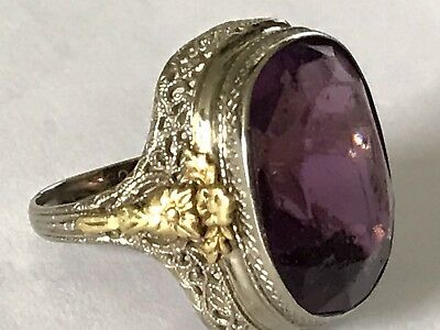 9g Lrg Antique Art Deco 10k Gold Filigree Amethyst Glass Massive Huge Ring 7.25