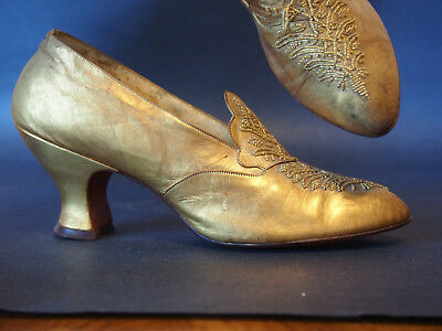 Antique Flapper Era Gold Metallic Leather Hand Embroidery Glass Beads Shoes Heel