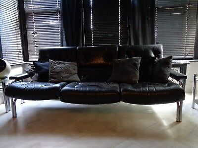 "1970's PIEFF ""ALPHA"" SOFA BLACK LEATHER & CHROME 3 SEATER By TIM BATES."