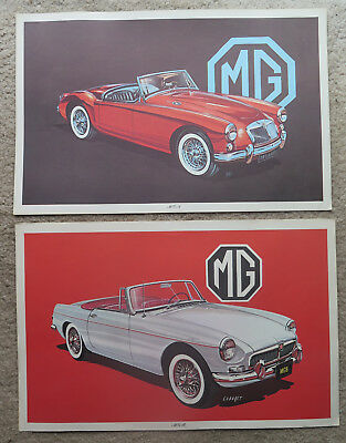 Original RA Cadaret MG print lot MGB & MGA Dealer poster prints