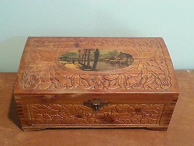 Antique Vintage Finger Jointed Wooden Carved Jewelry Trinket Box with Mirror