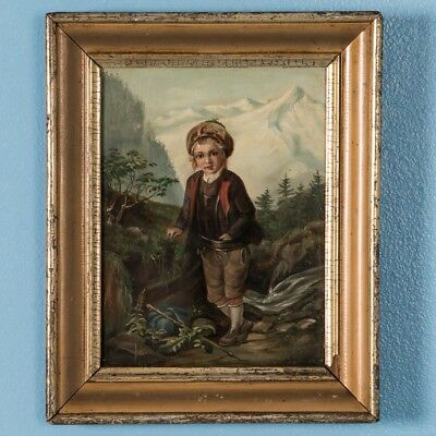 Antique 19th Century Original German Oil Painting  of a Young Boy