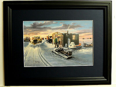 Ice Fishing Picture Wigwam Bay Ken Zylla  Snow Scene Matted Framed 12X16
