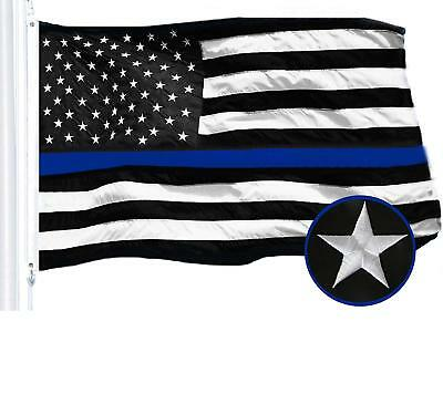 G128 - Thin Blue Line Flag 3x5 FT Embroidered Heavy Duty 220GSM Spun Polyester