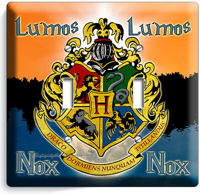 Harry Potter Lumos Nox Hogwarts Coat Of Arms 2 Gang Lightswitch Wall Plate Decor