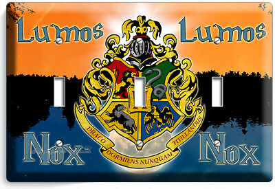 Harry Potter Lumos Nox Hogwarts Coat Of Arms 3 Gang Lightswitch Wall Plate Decor