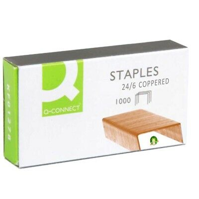 Q CONNECT STAPLES 24/6(26/6) BOX OF 1,000 COPPERED/ROSEGOLD 1,000 to 20,000