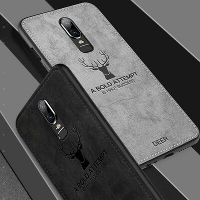 For OnePlus 6T 6 5T Luxury Deer Slim Fabric Texture Soft Shockproof Case Cover