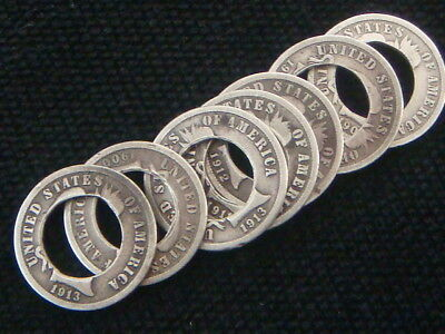 Holed , 7 BARBER DIMES LOT, 90% SILVER AMERICAN COINS.  VERY COOL SILVER    HOBO
